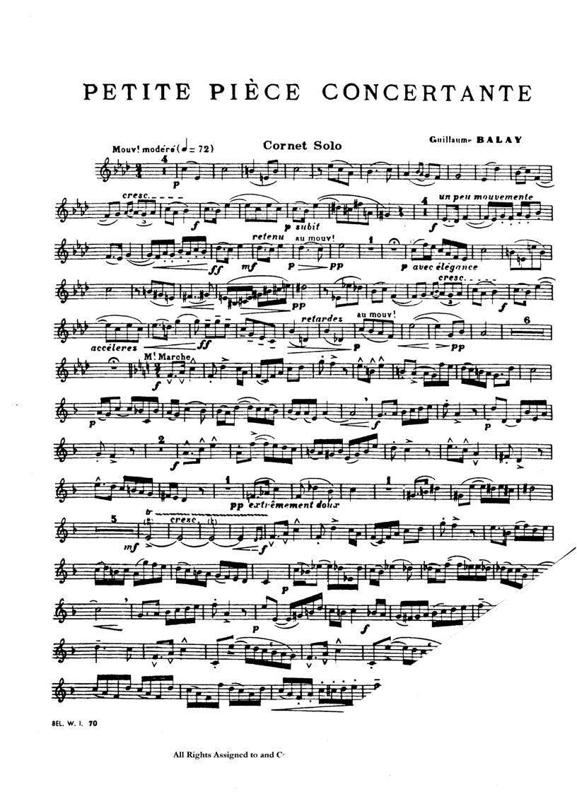 Balay Petite Piece Concertante For Trumpet Solos W Piano