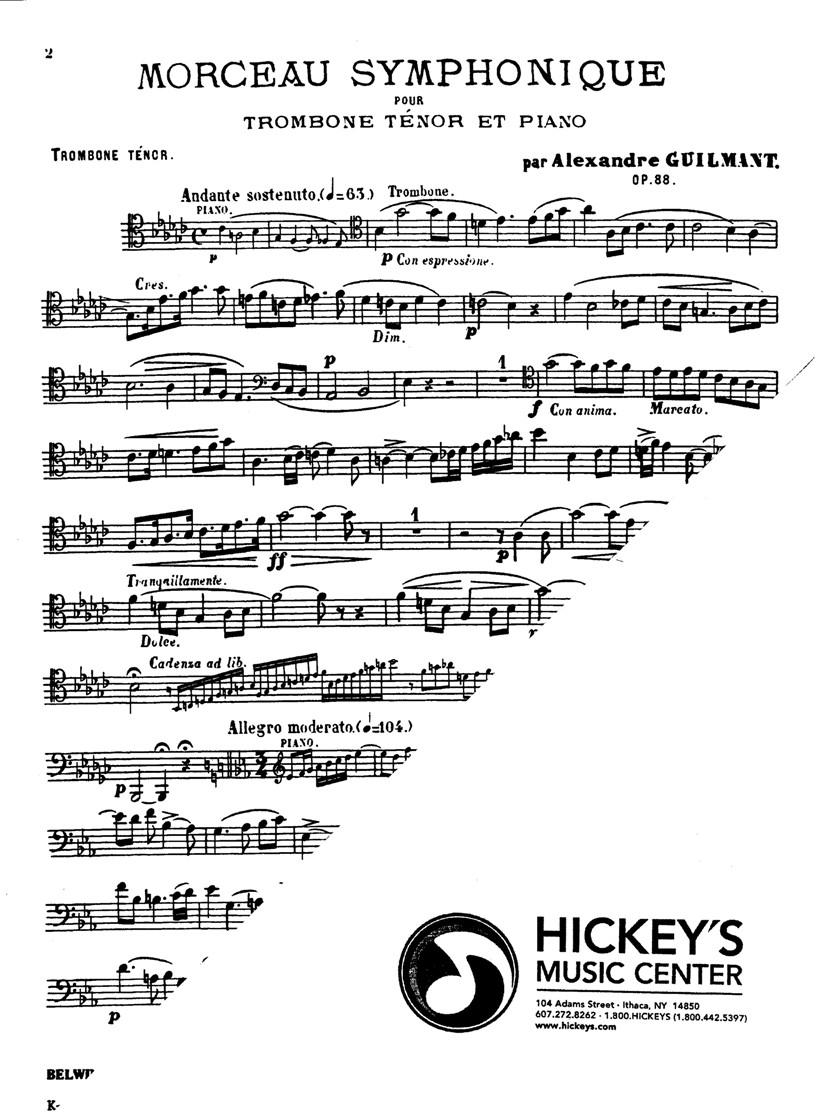 Morceau Symphonique, Op. 88: Trombone Solo with Piano (Kalmus Edition)