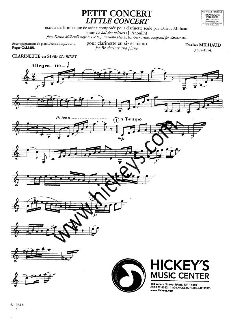 Milhaud, Darius (Calmel) Petit Concert for Clarinet Solos w/Piano