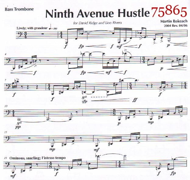 Rokeach Ninth Avenue Hustle for Bass Trombone Solos w/Piano